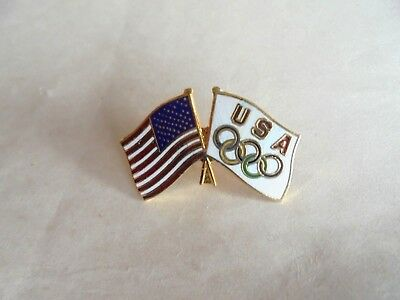 Vintage USA and Olympic Flags Enamel Lapel Pin