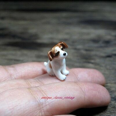 Dollhouse Miniature Jack Russel Dog Ceramic Mini Figurine Sculpture Hand Painted