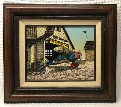 H Hargrove Serigraph Painting on Canvas Air Navigation Center Nice Vintage 8x10