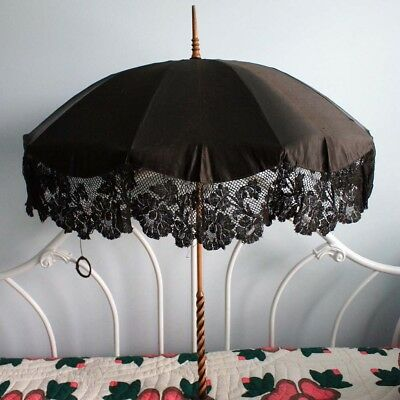 Antique Vtg Victorian PARASOL 2 Layer Silk w/ Lace Wooden Handle Umbrella