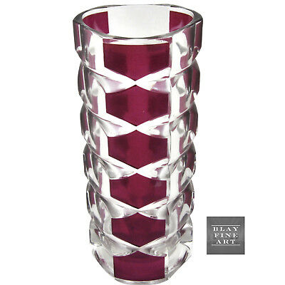 Vintage French Art Glass Art Deco Style Vase Magenta Ruby Clear