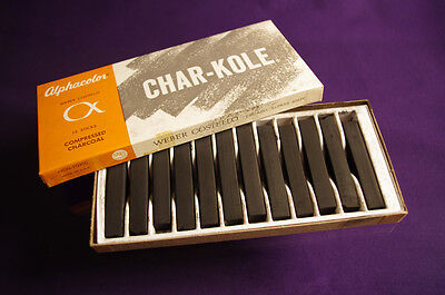 Artist's Drawing Charcoal, Box of 12, Alphacolor Char-Kole, NOS