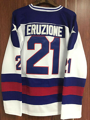 Mike Eruzione #21 1980 Miracle On Ice Hockey Jersey Movie ALL Stitched S-XXXL
