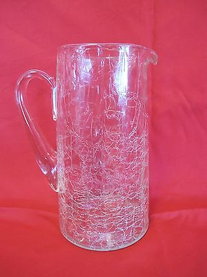 """ANTIQUE CRYSTAL 8 1/2 """" CRACKLE PANELED GLASS WHISKEY PITCHER  w/ APPLIED HANDLE"""