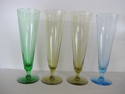 "Lot Of 4 Tall 8.5"" Multicolored Crystal Pilsner / Champagne Flutes"