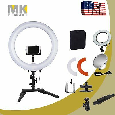 Dimmable LED Ring Beauty Light Desktop Stand Bracket Video Makeup Selfie 14 inch