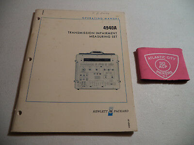 Hewlett Packard Hp 4940A Transmission Impairment Measuring Set Operating Manual