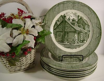 "Vintage The Old Curiosity Shop- Green Royal China Usa-10"" Dinner Plates-Set Of 6"
