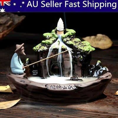 Fish Smoke Backflow Tower Ceramic Incense Burner Holder Censer Furnace Fragrant