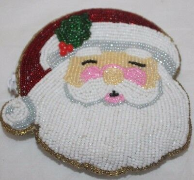 Beaded Santa Change Purse with Zipper