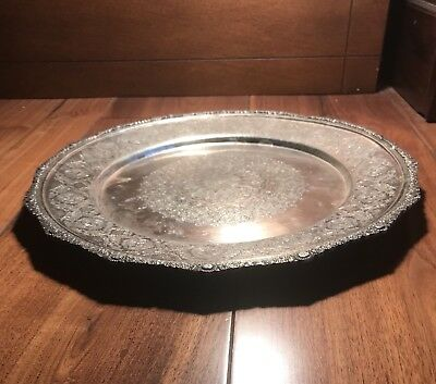 Antique Islamic Arabic Persian Ghajare Solid Silver Massive Dish Or Plate Tray