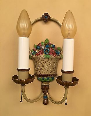 Vintage Lighting pair floral bouquet 1920s sconces