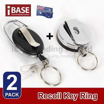 Recoil Key Ring Retractable Pull Rope Chain ID Holder Reel Belt Clip Metal Card