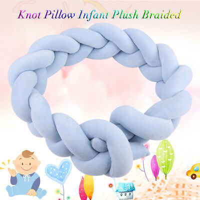 Infant Crib Bumpers Baby Bed Cot Soft Plush Braid Pillow Pad Safety Protection