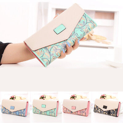 Womens Ladies Floral Envelope Wallet Clutch Purses Leather Long Handbag Bag Card
