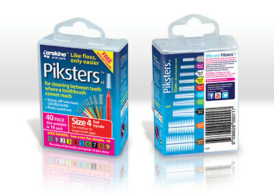 New Piksters Interdental Brush 40 Pack Size 4 Red Handle Floss Teeth Cleaning