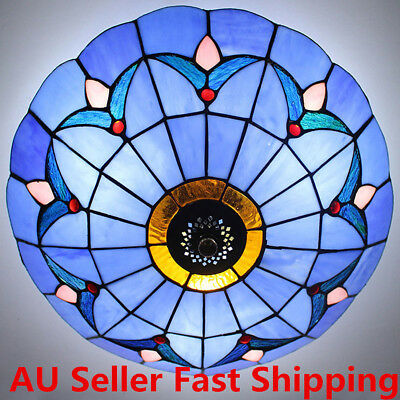 Modern Style Vintage Light Stained Glass Flush Mount Ceiling Lighting Fixture