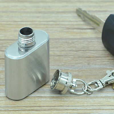Flask 1 oz Mini Stainless Steel Screw Cap Hip Pocket Key Chain Alcohol Liquor WB