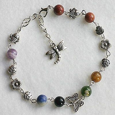 Gemstone Chakra Bee Dragonfly Butterflies Flower Leaves Anklet Ankle Bracelet