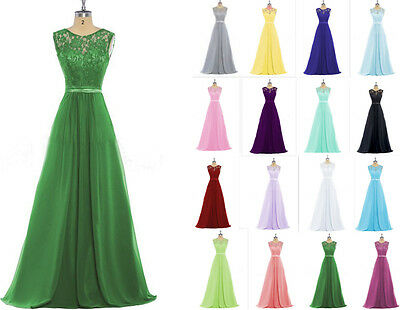 Long Chiffon Lace Bridesmaid Evening Dress Formal Party Ball Prom Gown Size 6-22