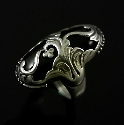 Georg Jensen. Sterling Silver Ring with Black Agate #18 - Moonlight Blossom