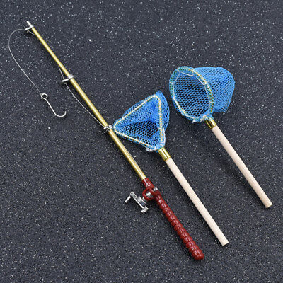 Mini Dollhouse Miniature Fishing Rod Fishing Pole Net Doll House Decor Gift