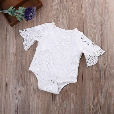 Baby Girls Boutique Summer Top White Lace Romper Vest 12-18m Vintage Party