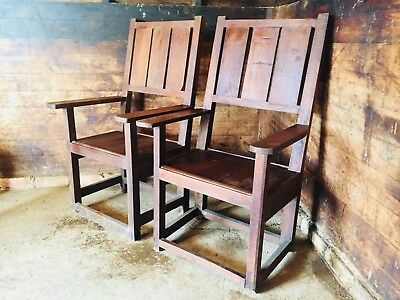 Large Pair Primitive Country House Oak Throne Armchairs