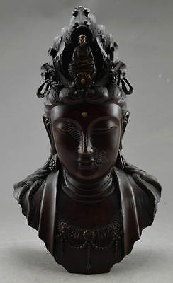 Collectible Decorated Old Handwork Copper Carved Big Kwan-yin Head Statue