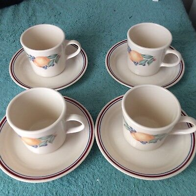 4 Corning Ware Corelle Abundance Coffee Mugs Tea Cups, And Saucers, EXCELLENT!