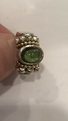 Lagos Sterling Silver & 18k Gold Caviar Ring with Cabochon TourmalIne - sz 7