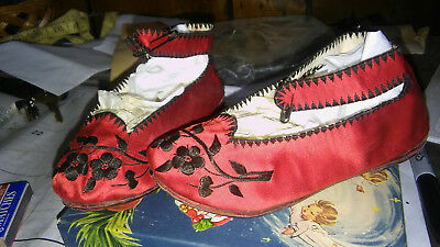 Vintage Pair of Childs Chinese silk and embroidered shoes 1930's
