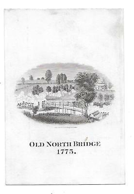 Middlesex Mutual Fire Ins. Co. 1884 Victorian  Trade Card Old North Bridge 1775
