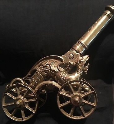 Vintage Large Solid Brass Dragon Cannon