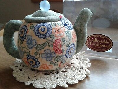 vintage 1998 Dritz Collectible pin Cushions fabric TEAPOT sewing crafts holder
