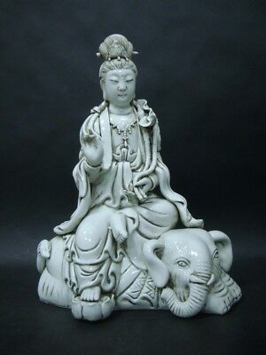 "Large Old Chinese GuanYin Seated Elephant Porcelain Statue ""LinXiZong"""