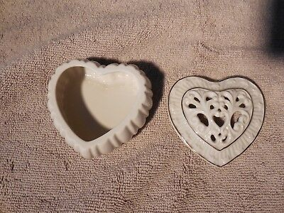 Lenox ~ Heart Shaped Box with Cut-Out Lid  Ivory Color