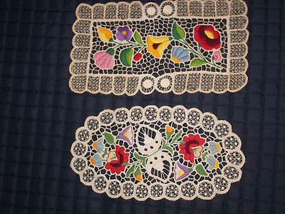 Lace embroidery 2 doilies beautiful colorful floral design estate