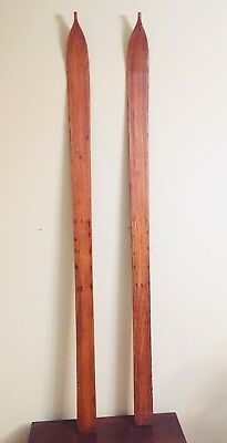 """Antique Wooden 60"""" Skis - Beautiful Wood, Cabin Decor w/ Wire to Hang -Vintage"""