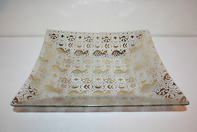 "Vintage retro MCM Frosted Glass Dish Square Gold Georges Briard 11 1/2"" large"