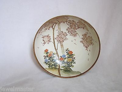 """Antique Japanese Satsuma Bowl w Flowering Tree Marked """"Made in Japam"""" Ca: 1920's"""