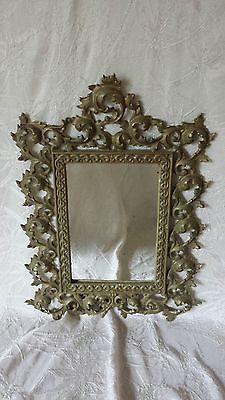 Antique Victorian JW Iron Art Scrolled Ornate Green Gold Enamel Metal Mirror