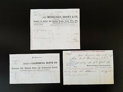 Three (3) Antique 1870's San Francisco Invoices ~ San Francisco, California