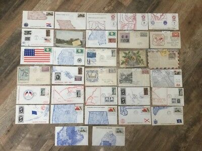 Lot Of 30 Vintage Antique Stamped Mailing Envelopes Commemorative First 1st Day