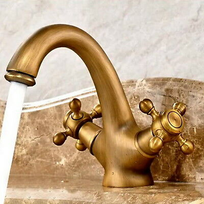 NEW Stylish Vintage Brass Bathroom Sink Faucet  Two Holes Deck Mount Basin Mixer