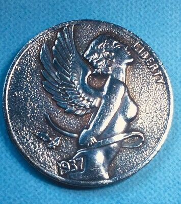 A kiss from an angel,Great looking,Fantasy hobo nickel coin,quality Made-Copper