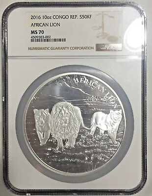2016 MS70 Congo 10 oz Silver African Lion NGC 1500 Minted S50KF 39 graded MS70!