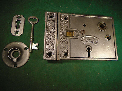 VINTAGE FANCY B.L.W. BRANFORD LOCK  RIM LOCK w/KEY & KEEPER - VERY NICE (4297)
