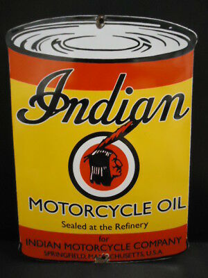 Indian Motorcycle Oil Porcelain Dealer Advertising Sign