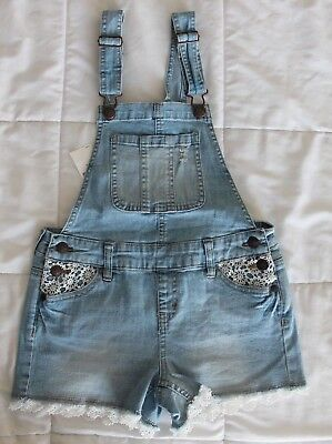 JUSTICE Jean Denim SHORTS Jumper Overalls overal  SIZE 8  WHISKERS lace NEW